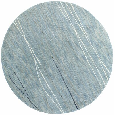 Luczak Hand-Tufted Light Blue Area Rug Rug Size: Round 6