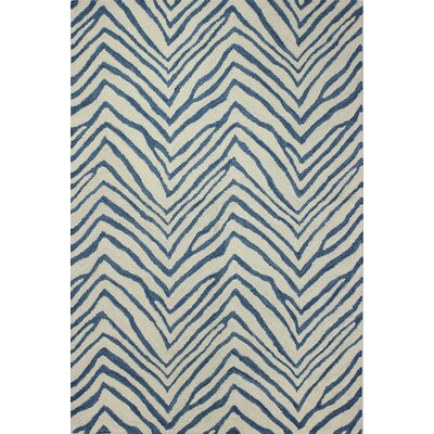 Marasco Hand-Tufted Ivory/Blue Area Rug Rug Size: 76 x 96