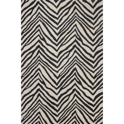 Ludlum Hand-Tufted Ivory/Black Area Rug Rug Size: 5 x 76