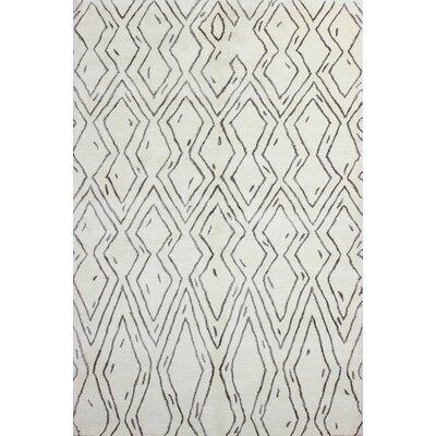 Lara White Geometric Wool Hand-Tufted Area Rug
