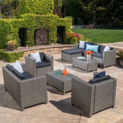Adonis 9 Piece Deep Seating Group with Cushion Color: Gray