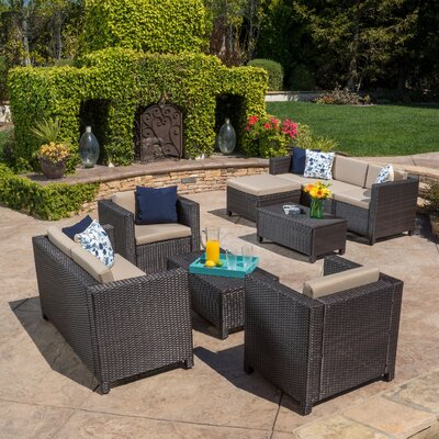 Adonis 9 Piece Deep Seating Group with Cushion Color: Brown