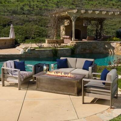 Cressey 4 Piece Fire Pit Seating Group with Cushions Finish: Brown