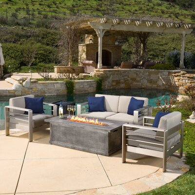 Cressey 4 Piece Fire Pit Seating Group with Cushions Finish: Gray