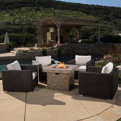 Murillo 5 Piece Conversation Set with Fire Pit Color: Brown