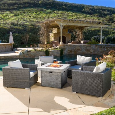Murillo 5 Piece Conversation Set with Fire Pit Color: Grey