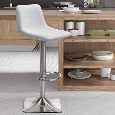 Boomer Adjustable Height Swivel Bar Stool Upholstery: White