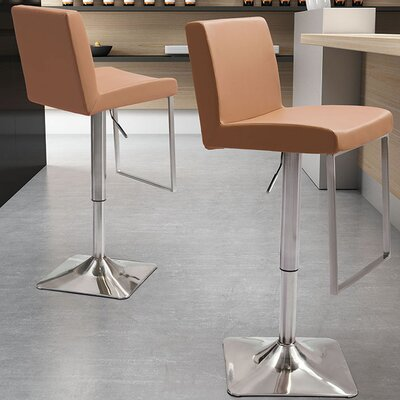 Bissett Adjustable Height Swivel Bar Stool Upholstery: Taupe
