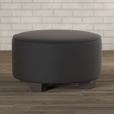 Twill Round Cocktail Ottoman Upholstery: Black