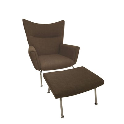 Nebel Armchair and Ottoman Upholstery: Brown
