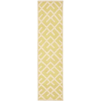Crawford Hand-Woven Light Green/Ivory Area Rug Rug Size: Runner 26 x 8