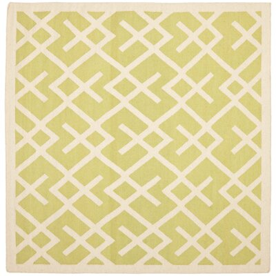 Crawford Hand-Woven Light Green/Ivory Area Rug Rug Size: Square 6