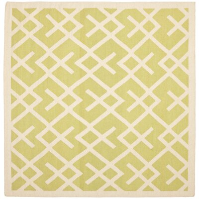 Crawford Hand-Woven Light Green/Ivory Area Rug Rug Size: Square 8