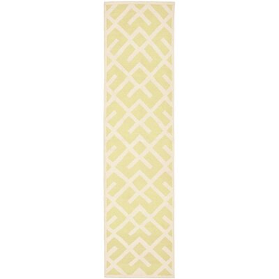 Crawford Hand-Woven Light Green/Ivory Area Rug Rug Size: Runner 26 x 12