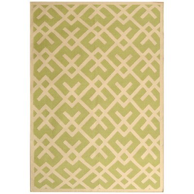 Crawford Hand-Woven Light Green/Ivory Area Rug Rug Size: 5 x 8