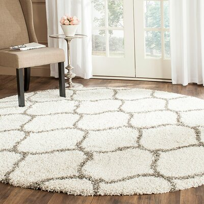 Marco Ivory/Gray Area Rug Rug Size: Round 7
