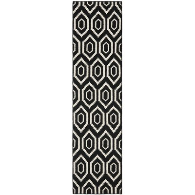 Crawford Hand-Woven Wool Black/Ivory Area Rug Rug Size: Runner 26 x 12