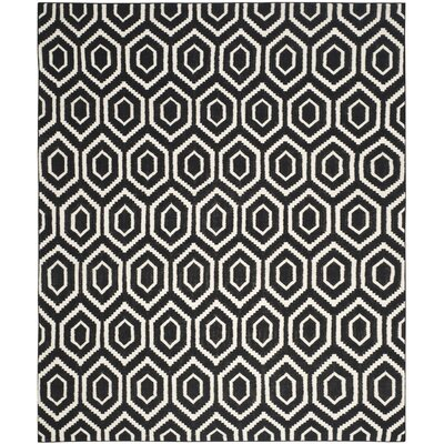 Crawford Hand-Woven Wool Black/Ivory Area Rug Rug Size: Rectangle 10 x 14