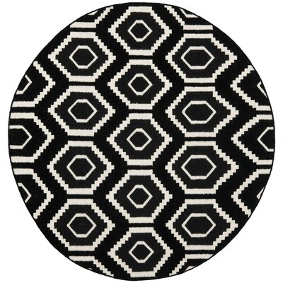 Crawford Hand-Woven Black/Ivory Area Rug Rug Size: Round 6
