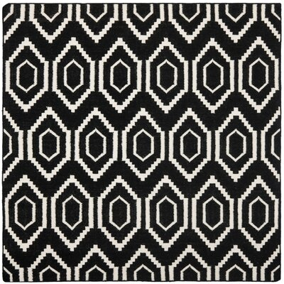 Crawford Hand-Woven Black/Ivory Area Rug Rug Size: Square 6