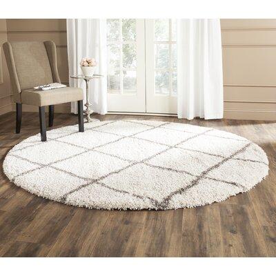Duhon Ivory/Gray Shag Area Rug Rug Size: Round 9