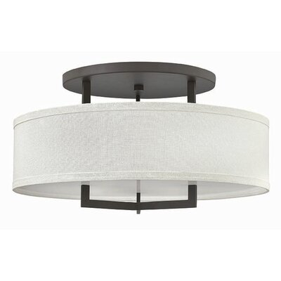 Allenhurst 3-Light Metal Semi-Flush Mount Size: 14.5 H x 26 W, Bulb Type: 26W GU24, Finish: Buckeye Bronze