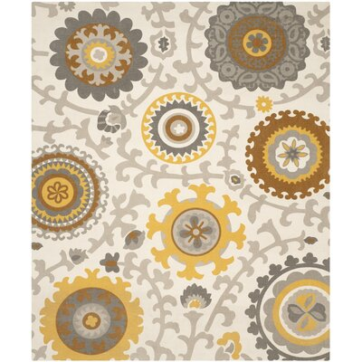 Centerburg Hand-Loomed Citron/Ivory Area Rug Rug Size: Rectangle 23 x 39