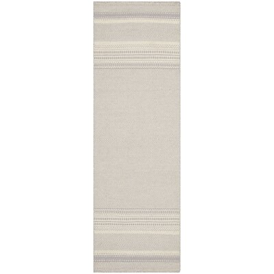 Butters Hand-Woven Grey/Ivory Area Rug Rug Size: Runner 23 x 9