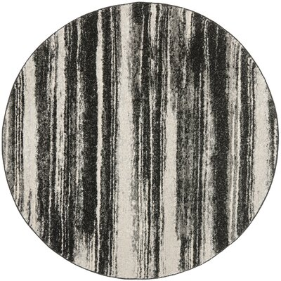 Aislinn Dark Grey / Light Grey Area Rug Rug Size: Round 4