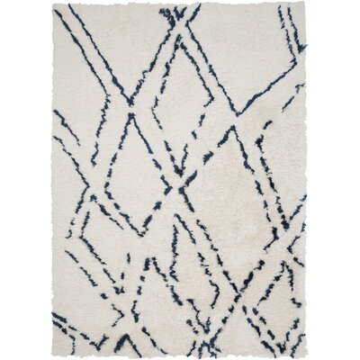 Manzer Ivory/Cobalt Area Rug Rug Size: Rectangle 8 x 10