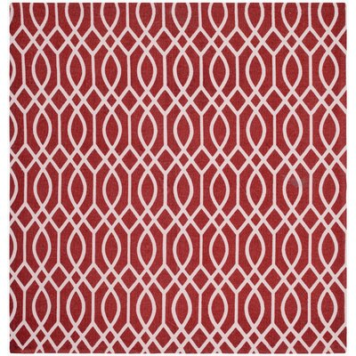 Nolan Hand-Loomed Coral/Ivory Area Rug Rug Size: Square 5