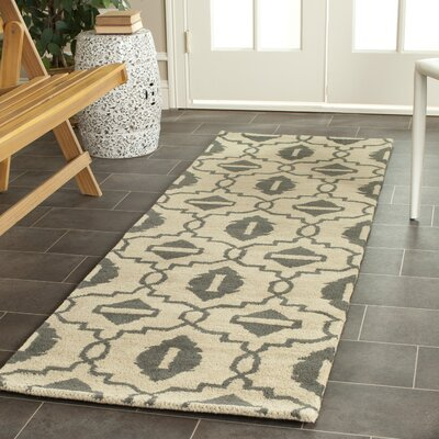 Longe Hand-Tufted Wool Beige/Gray Area Rug Rug Size: Runner 23 x 7