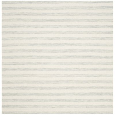 Crawford Hand-Woven Light Blue/Ivory Area Rug Rug Size: Square 6