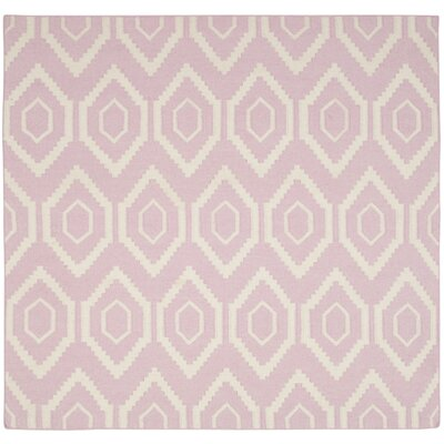 Crawford Hand-Woven Wool Pink/Ivory Outdoor Area Rug Rug Size: Square 6 x 6