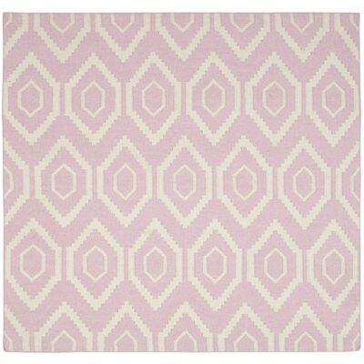 Crawford Hand-Woven Pink & Ivory Area Rug Rug Size: Square 6 x 6