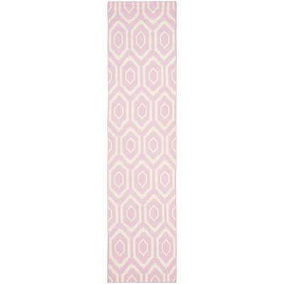 Crawford Hand-Woven Pink & Ivory Area Rug Rug Size: Runner 26 x 10