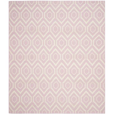 Crawford Hand-Woven Pink & Ivory Area Rug Rug Size: 4 x 6