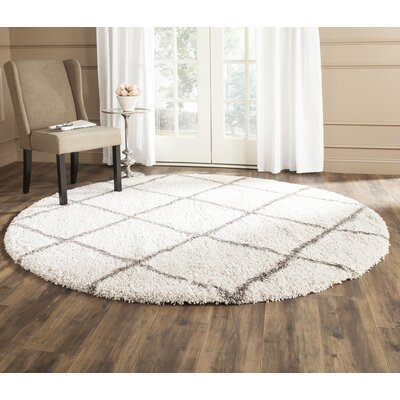 Lucina Ivory / Gray Area Rug Rug Size: Round 9