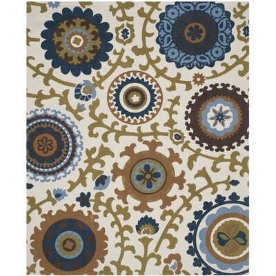 Centerburg Hand-Loomed Cotton Ivory/Blue Area Rug Rug Size: Rectangle 73 x 93