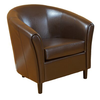 Karp Barrel Bonded Leather Barrel Chair Color: Brown
