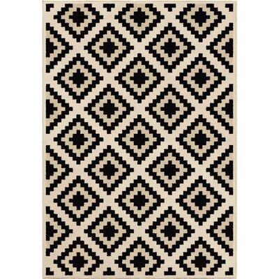 Mullinix Ivory/Black Area Rug Rug Size: 53 x 76