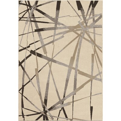 Mullinix Ivory/Brown Area Rug Rug Size: 53 x 76