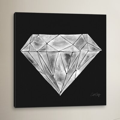 Brayden Studio Diamond Artprint by Cat Coquillette Painting Print on Wrapped Canvas in Gray