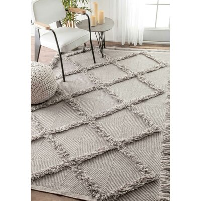 Alcor Hand Loomed Gray Area Rug Rug Size: 76 x 96