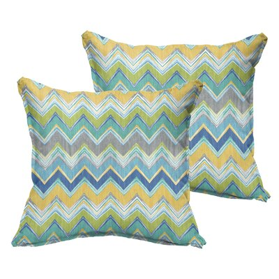 Murrah Chevron Flange Square Indoor/Outdoor  Polyester Throw Pillow Size: 18 x 18, Color: Pacific