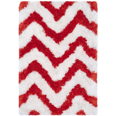Bail Ivory/Rust Shag Area Rug Rug Size: Rectangle 4 x 6