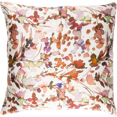 Alastair Silk Throw Pillow Size: 22 H x 22 W x 4 D, Color: White/Burnt Orange/Peach/Lilac/Lime/Purple/Violet