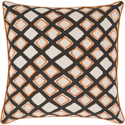 Alkmene Cotton Throw Pillow Size: 22 H x 22 W x 4 D, Color: Saffron/Cream/Black