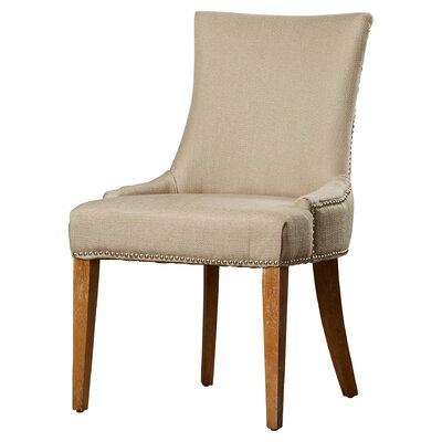 Alpha Centauri Upholstered Side Chair in Linen - Beige with Nickel Nailheads Color: Light Brown