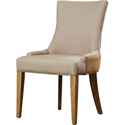 Alpha Centauri Upholstered Side Chair in Linen - Two Toned Beige with Carpenter Nailheads Finish: Pickled Oak